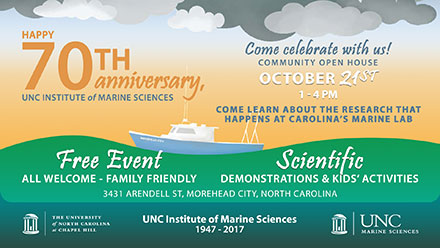 The 70th Anniversary of UNC's Institute of Marine Sciences on the coast of North Carolina in Morehead City.